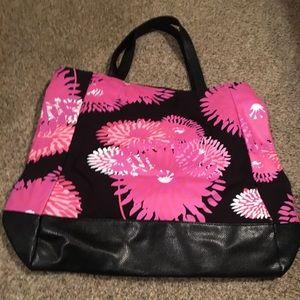Travel/weekender tote bag AVON pink/black